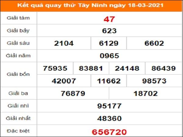 Quay thử Tây Ninh ngày 18/3/2021 thứ 5