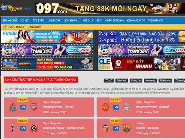 Link xem trực tiếp bóng đá tiếng Việt